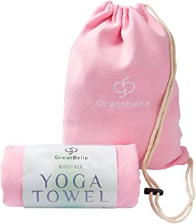"""featured product GreatBelle Yoga Towel with Storage Pouch (72"""" x 26"""") - Non-Slip Super Absorbent Microfiber Mat Yoga Towel Use for Bikram and Hot Yoga Pilates Fitness Exercise and Stretching"""