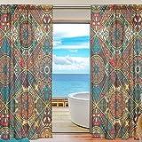 SKYDA – Juego de 2 cortinas de estilo étnico para cortinas de salón, 198 cm de largo, poliéster, Multicolored, 55'W x 78'L