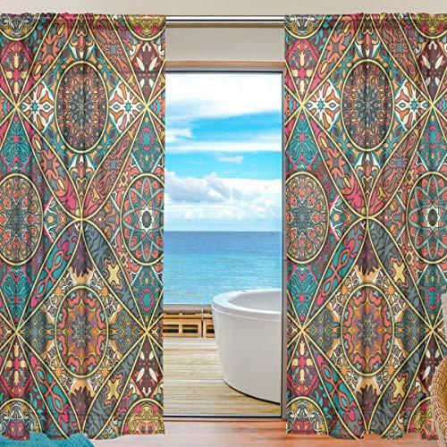 SKYDA – Juego de 2 cortinas de estilo étnico para cortinas de salón, 198 cm de largo, poliéster, Multicolored, 55
