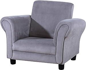 Single Upholstered Kids Armchair,Little Sofa Couch for Tollder with Wooden Frame and Velvet (Gray)