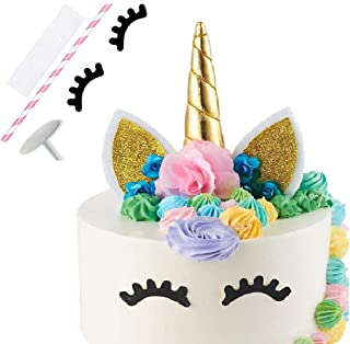 Unicorn Cake Topper, Reusable Unicorn Horn with Ears, Eyelashes and Flowers, Party Cake Decoration for Birthday Party