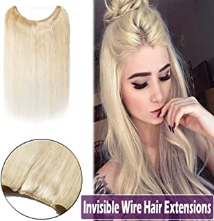100% Hidden Wire Human Hair Extensions Remy Invisible Secret Wire Fish Line Hairpieces No Clips No Glue for Women Beauty 20