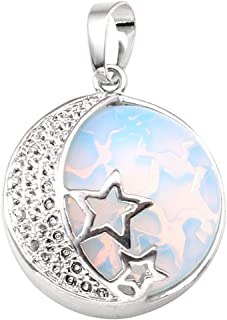 Natural Gemstones Moon and Star Healing Crystal Chakra Pendant Necklace with 21.5in Stainless Steel Chain