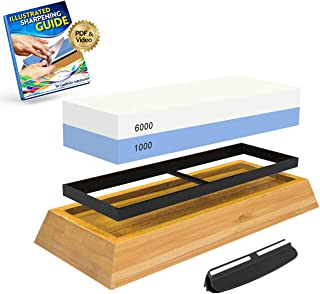 Whetstone Knife Sharpening Stone: 2-Sided Knife Sharpener Set, 1000/6000 Grits, with..