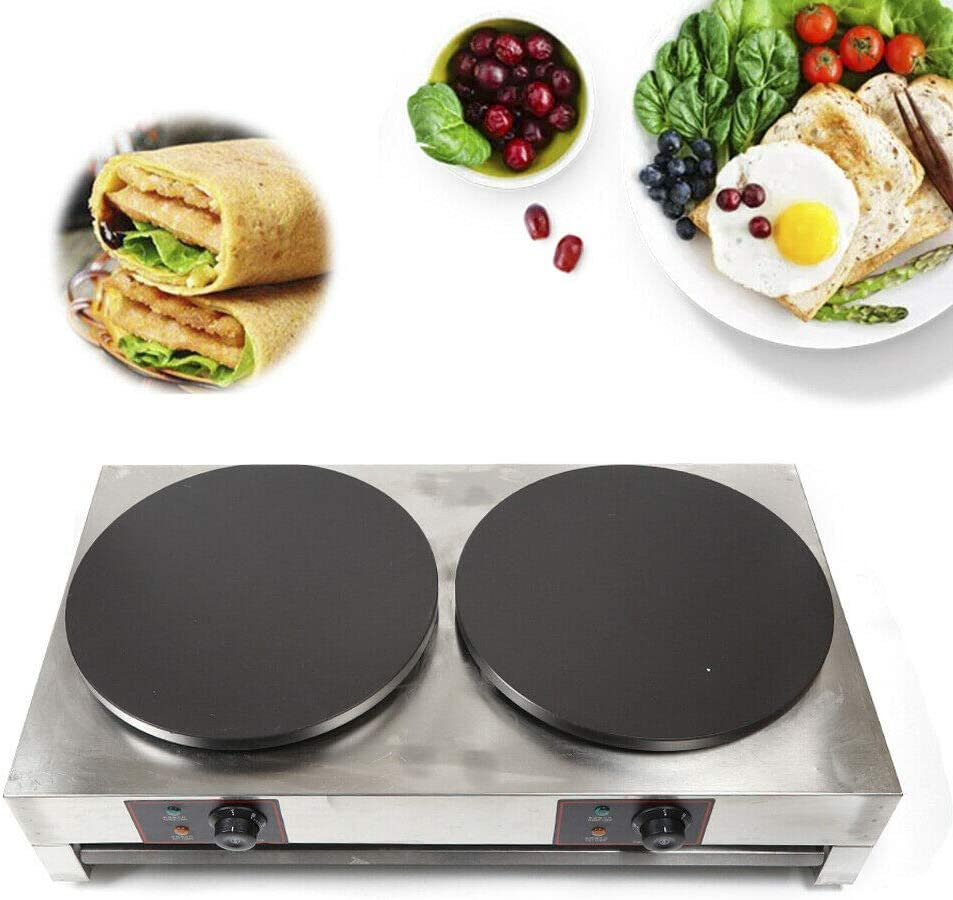 3KW+3KW 40cm Double 70% OFF Outlet Special price for a limited time Crepe Maker 1 Commercial Heavy Nonstick Duty