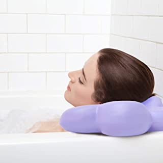 Best Bath Pillow Large Luxury with Powerful Suction Cups - Purple - Firm Quality Construction - Supports Your Neck & Head Perfectly - Fits All Hot Tub, Whirlpool, Jacuzzi & Standard Tubs