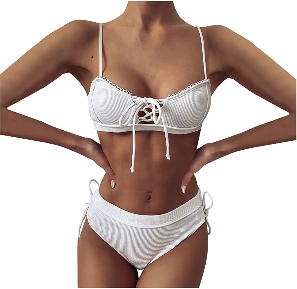 AODONG Swimsuits for Women Sexy,Womens Vintage Swimsuit Two Piece Retro Halter Ruched High Waist Bikini White