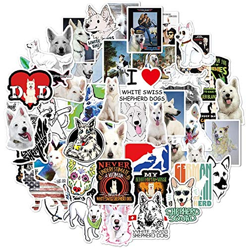 WANGPENG White Swiss Shepherd Dog Animals Sticker PVC Skateboard Luggage Motorcycle Guitar Kid Boy Decals Graffiti Stickers 50 Pcs