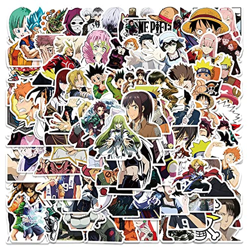 100 Pack Mixed Anime Characters Stickers Water Bottles Laptop Phone Guitar Skateboard Computer Japan Anime Cartoon Stickers Vinyl Waterproof Aesthetic Trendy Decals for Teens Boys Girls Adults