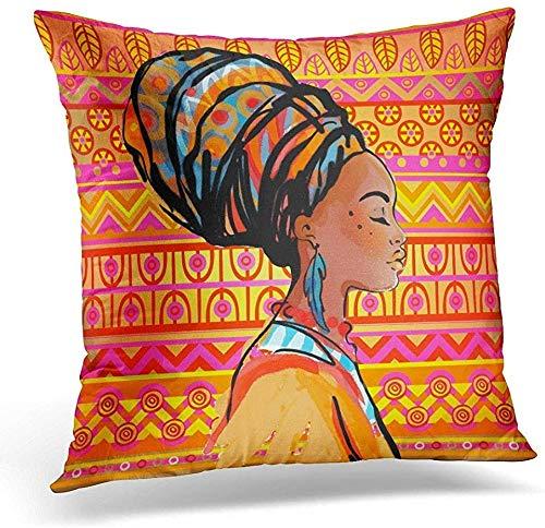Weicher Überwurfkissenbezug, schwarz, amerikanisches Portrait, schöne afrikanische Frau, Ohrringe, Profil über Ethno-Stil, dekorativer Kissenbezug, Heimdekoration, 45,7 x 45,7 cm Kissenbezug