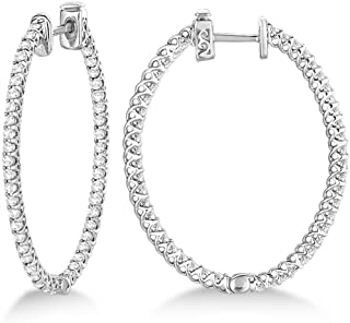 14k Gold Lucida Oval-Shaped Diamond Hoop Earrings (2.00ct)