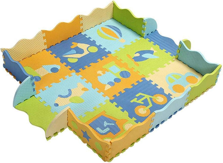 NuoEn Baby Krabbeldecke,Baby Spiel Puzzle-Zaun PE Schaum Crawl Mat Baby Patchwork Bodenmatte