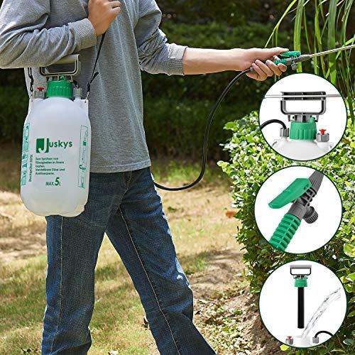 Juskys Drucksprüher DSF5L 5 Liter inkl. Schlauch, Schultergurt, Pumphebel & Füllstandsanzeige – Kunststoff – Drucksprühgerät