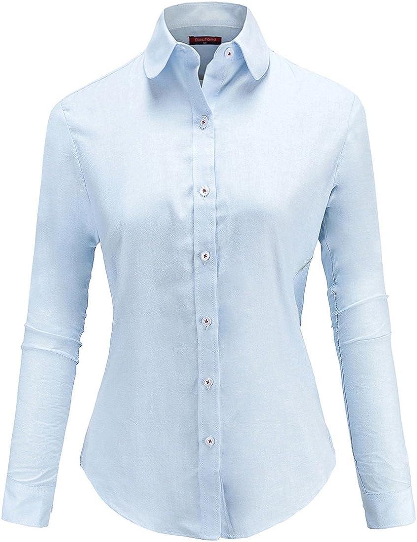 Dioufond Womens Oxford Shirts Cotton Ladies Button Down Blouse