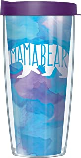 Signature Tumblers Mama Bear Wrap on Blue Watercolor 16 Ounce Double-Walled Travel Tumbler Mug with Eggplant Purple Easy Sip Lid