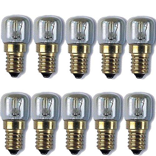 Lot de 10 lampes de sel de l'Himalaya pour réfrigérateur, four, micro-ondes, machine à coudre General Electric (GE) 15 W E14
