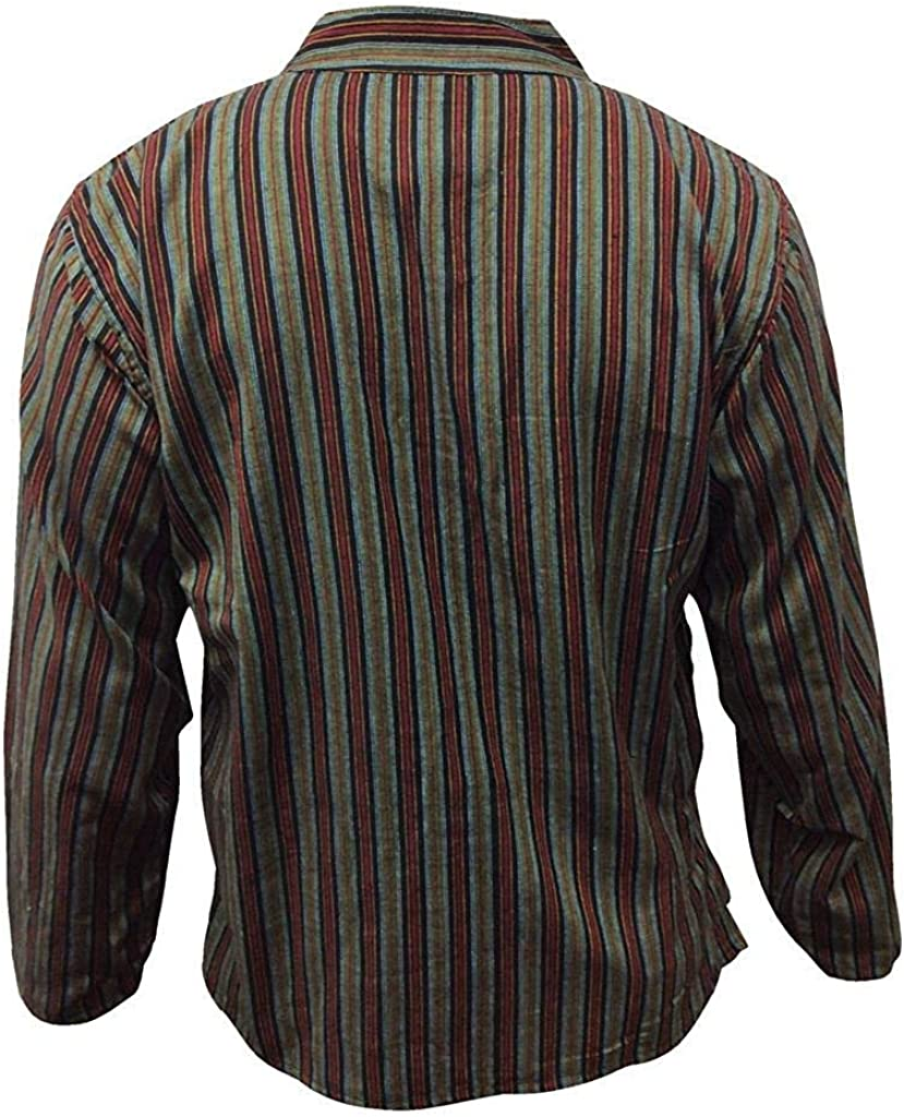 Hippy Boho Multi Farben Mix dharke Streifen leicht bequem lang/ärmlig traditionell Gro/ßvater Shirt S M L XL XXL XXXL