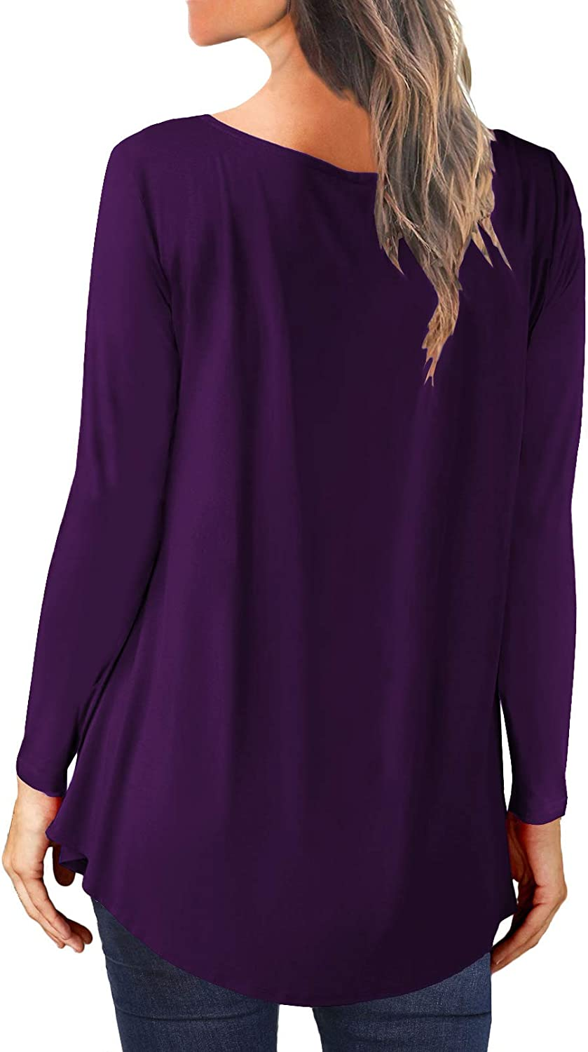onlypuff Womens Short Sleeve Henley Shirts Ruffle Casual Tunic Tops Solid Color