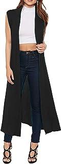 Maxi-vest voor dames - mantel/blazer/cardigan - boyfriend-stijl/lang model/soepel vallende stof -met kraag/mouwloos