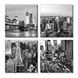 New York Canvas Print Black and White City Times Square Brooklyn Bridge Statue of Liberty Modern Wall Art Artwork for Office Home Decor(12'x 12'x 4pcs Framed)