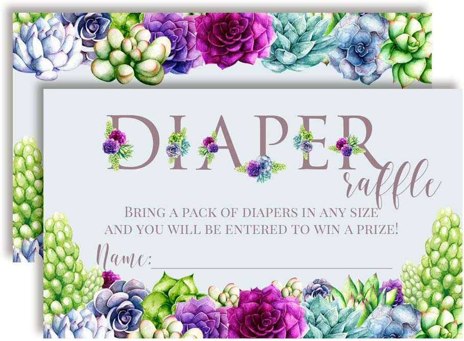 Watercolor Succulents Blue and Purple Floral Diaper Raffle Tickets for Baby Showers, 20 2