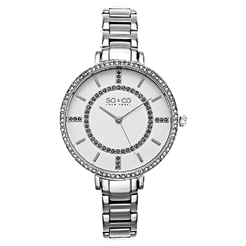 SO&CO New York Womens 5066.1 SoHo Quartz Crystal Accent Stainless Steel Watch