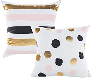 ALLHEARTDESIRES Set of 2 Gold Foil Black Pink White Polka Dot Striped Pattern Decorative Pillow Case Cushion Cover Pillowcase Indoor Home Holiday Decoration