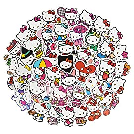 Cute Hello Kitty Stickers for Laptop, 50Pcs Lovely Waterproof Water Bottle Stickers for Skateboard Cup Guitar Luggage…