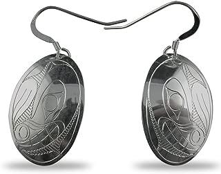 Sterling Silver Bear Oval Earrings Native Northwest Coast