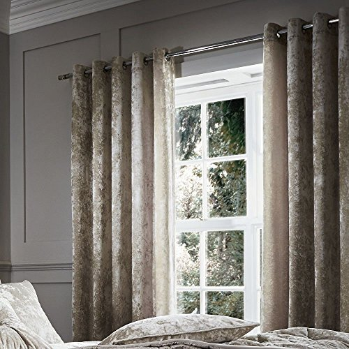 """Catherine Lansfield Crushed Velvet Lined Curtain Panels with Grommet Top - Natural Cream - 66"""" Wide x 90"""" Drop"""