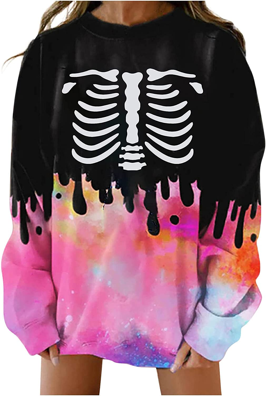 Women Plus Size Crewneck Sweatshirts,Fashion Tie Dye Sweaters Y2K Funny Halloween Tops Shirts Crewneck Pullover Blouse