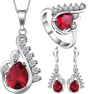 VPbao Crystal Pendant Silver Plated CZ Necklace Earrings Ring Jewellery Set Red
