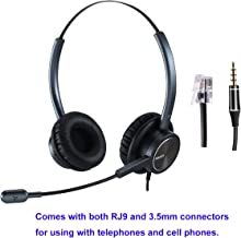 RJ9 Cisco Headset for Telephone with Noise Cancelling Microphone Including 3.5mm Connector for Cell Phone iPhone Samsung Compatible with Cisco Phone 7841 7942G 8841 7931G 7940 7941G 7945G 7960 7961