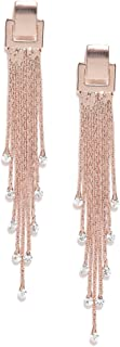 Jewels Galaxy Exclusive Luxuria Edition Delicate AAA Swiss CZ 18k Rosegold Plated Mesmerizing Long Chain Drop Earrings For...