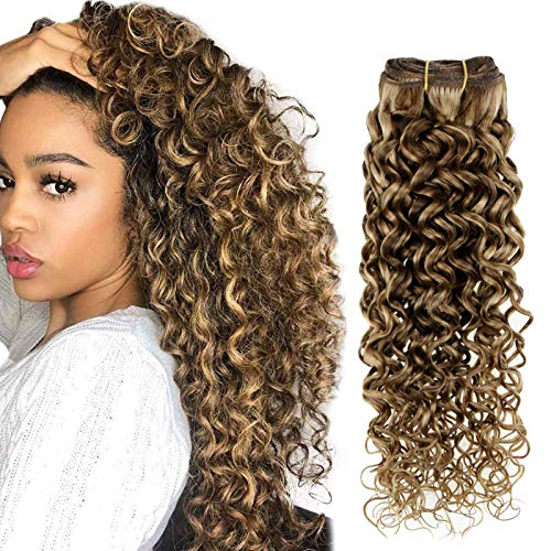 Hetto Double Weft Curly Clip in Hair Extensions Human Hair 20 Inch Brown Highlights Blonde Natural Wavy Extensions 100g 7 Pieces Clip in Extensions Real Human Hair