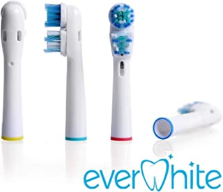 Oral-B Dual Clean Replacement Electric Toothbrush Heads- Pk of 4 EverWhite Oral B Braun Brush Heads- Generic Brushes Compatible w/ Oralb Pro 7000, 1000, 8000, 9000, 1500, 5000, Kids, Vitality & More!