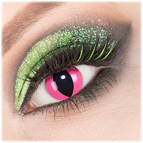 Farbige rosa'Pink Cat' Kontaktlinsen 1 Paar Crazy Fun Kontaktlinsen mit Kombilösung (60ml) + Behälter zu Fasching Karneval Halloween - Topqualität von'Giftauge' ohne Stärke
