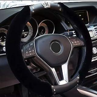 Exquisite Gitter Design E - Schwarz 3 Bling Diamond nur K/önigin K/önigin Auto Lenkradabdeckung mit edler Krone elegante Kollektion Zubeh/ör Universal 15// 38cm weiches Leder Auto stilvolle
