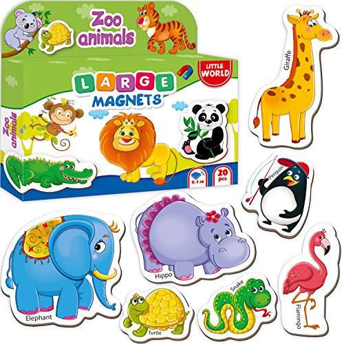 Little World Fridge Magnets for Toddlers Age 1 2 3 - Refrigerator Magnets for Kids – Large Baby Magnets Toy – Set of 28 Magnetic Animals for Toddler Learning – Safe Kids Magnets