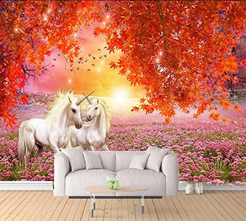 MIYCOLOR Behang Esdoorn Rood Blad Wit Paard 3D TV Achtergrond Muur Vliegende Vogels Bloem Zee Aangepaste Woonkamer 3d Muurschildering, 250x175 cm (98.4 bij 68.9 in)
