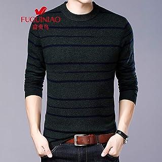 富贵鸟冬季男士纯羊毛中青年男装圆领条纹针织衫毛衣宽松羊毛衫