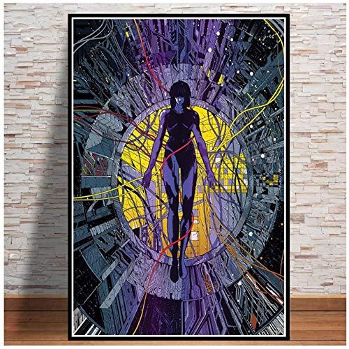 FACAIA Pôster e impressões de anime Ghost in The Shell Fight Police Arte de parede Abstrata Decoração para casa - 50 x 70 cm Sem moldura