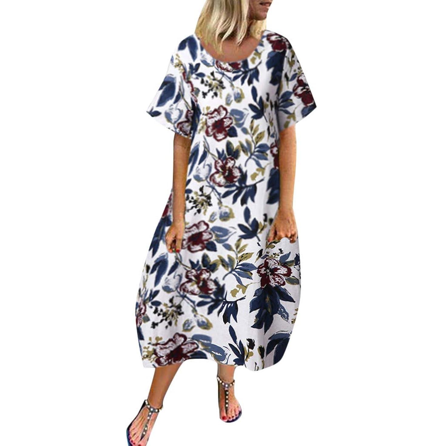 Women's Cotton Linen Short Sleeve O-Neck Maxi Dress AmyDong Printed Hem Baggy Mid Dress