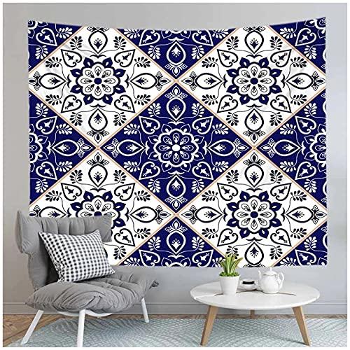 Tapiz by BD-Boombdl Mandala azul Floral Art Deco Fondo Estera de yoga Estera de playa Decoración del dormitorio del hogar Mantel de la cubierta de la cama 59.05'x78.74'Inch(150x200 Cm)