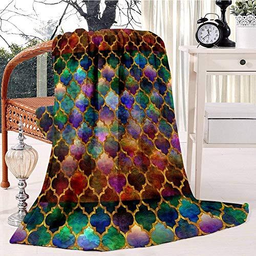 Arabic Moroccan Mosaic Pattern Plush Throw Blanket Soft Receiving Blanket Bed Throws Christmas Sofa Shawl Blanket Kid Nursery Emergency Blanket for Living Room 50x60IN