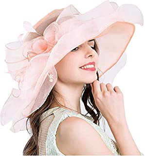 Felizhouse Fascinator Chruch Tea Hat Kentucky Derby Hats for Women Bridal Wedding Sun Hats