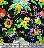 Soimoi Gelber Samt Stoff Blätter, Floral & American Robin