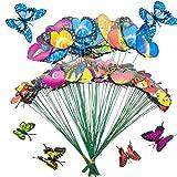 100 Pz Colorido Jardín Mariposas, Allazone 5 Tamaño Papillons de Jardin Ornements de Jardin para Decoración de Planta, Yarda Exterior, Ornamento de Jardín