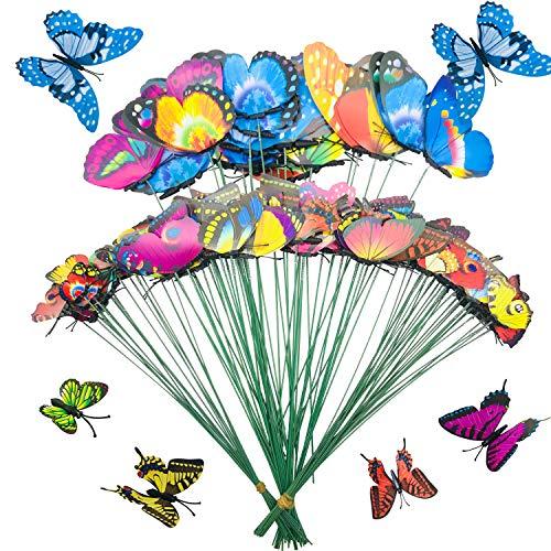 100 Pz Farfalle da Giardino Colorato Terrazza Ornamenti, Allazone 5 Taglia Terrazza Ornamenti su Bastoni per Yard Patio Lawn Outdoor Farfalle Decorazione