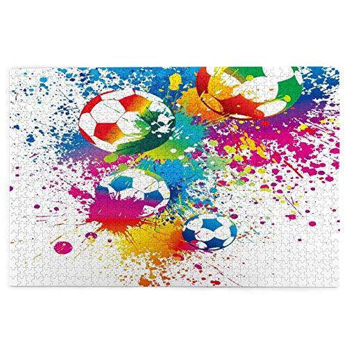 KIMDFACE Rompecabezas Puzzle 1000 Piezas,Salpicaduras de Colores por Todas Partes Los balones de fútbol marcan el Campeonato de la Copa del Mundo Atlético,Puzzle Educa Inteligencia Jigsaw